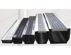 Лоток водоотводный DN100 пластиковый усиленный 1000х145х80 со стальной ячеистой решеткой