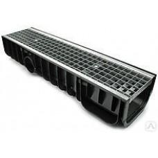 Лоток водоотводный DN100 пластиковый усиленный 1000х145х100 с пластиковой решеткой, купить недорого