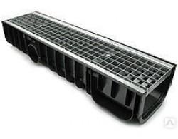 Лоток водоотводный DN100 пластиковый усиленный 1000х145х100 с пластиковой решеткой