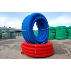 Труба двухстенная гофрированная для ливневой канализации красная ПНД D=200 мм (бухта 50 м)
