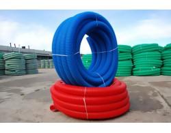 Труба двухстенная гофрированная для ливневой канализации SN6 красная ПНД D=200 мм (бухта 50 м)