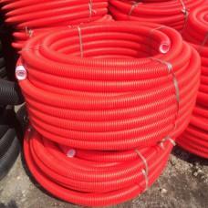 Труба двухстенная гофрированная для ливневой канализации красная ПНД класс жесткости SN 12 диаметр 110 мм (бухта 50 м)