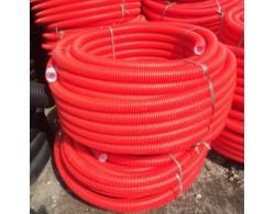 Труба двухстенная гофрированная для ливневой канализации красная ПНД класс жесткости SN 6 диаметр 110 мм (бухта 50 м)