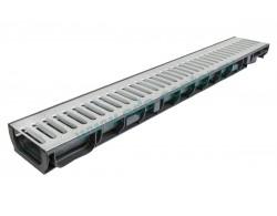 Лоток водоотводный DN100 пластиковый 1000х160х135 усиленный со стальной оцинкованной штампованной  решеткой