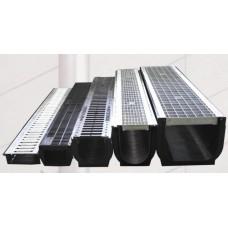 Лоток водоотводный DN100 пластиковый усиленный 1000х145х100 с чугунной щелевой решеткой