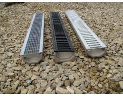 Лоток водоотводный DN100 пластиковый 1000х160х135 усиленный со стальной ячеистой решеткой